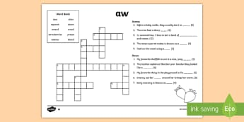 'aw' Digraph Differentiated Crossword  - vowel diagraph, reading, first class, second class, 1st class, 2nd class, jolly phonics, jolly gramm