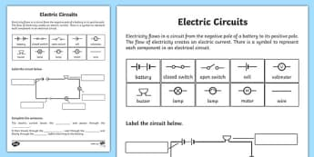Electric Circuits Worksheet - electric circuits, circuits, circuits worksheet, circuits labelling worksheet, circuit components, conducting electricity