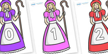 Numbers 0-31 on Little Bo Peep - 0-31, foundation stage numeracy, Number recognition, Number flashcards, counting, number frieze, Display numbers, number posters