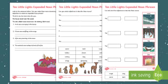 Year 2 Ten Little Lights Expanded Noun Phrases Differentiated Activity Sheets - Twinkl Originals, Fiction, Christmas, Winter, Snow, Cold, Writing, Grammar, adjectives, worksheets