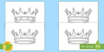Hojas de colorear: Coronas del castillo medieval - edad media, juego de rol, roles, juegos de roles, educativo, didáctico, colorear, pintar, manualida
