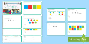 Kindergarten Counting and Cardinality Digital Assessment Practice Activity - assessments, review, counting and cardinality, more or less, comparing, sequence, number patterns,