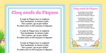 Cinq oeufs de Pâques Five Easter Eggs Counting Song Sheet French - french, counting, song, sheet
