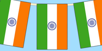 India Flag Display Bunting - countries, geography, flags, india