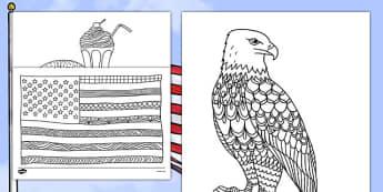 USA Mindfulness Coloring Sheets - usa, america, mindfulness, colouring, colour, activity