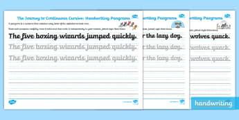 The Journey to Continuous Cursive: KS1 Handwriting Pangrams Assessment Activity Sheets - Handwriting, Joined, Assess, Review, Cursive, worksheets, continuous cursive