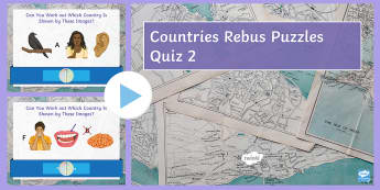 Countries Rebus Puzzles 2 PowerPoint Game - Countries, dingbats, quiz, game, Geography