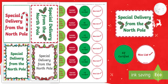 Christmas North Pole  Labels - address labels, santa, north poel, Father Christmas, role play, presents, gifts, chritmas, chriatmas