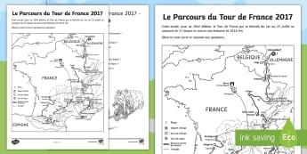 Le Parcours du Tour de France 2017 Feuille d'activités  - carte, ville, parcours, itinerary, itinéraire, route, géographie, cycle 2, cycle 3,,French