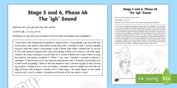 Northern Ireland Linguistic Phonics Stage 5 and 6, Phase 4b, 'igh' Sound Text Activity Sheet - NI, Linguistic Phonics, Stage 5, Stage 6, Phase 4b, Northern Ireland, Worksheet, 'igh' sound, so