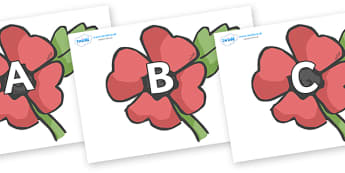 A-Z Alphabet on Poppies - A-Z, A4, display, Alphabet frieze, Display letters, Letter posters, A-Z letters, Alphabet flashcards
