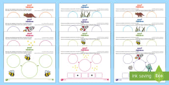 UAE EY Addition Differentiated Worksheet / Activity Sheets Arabic/English - EYFS, EAL, translation, General, worksheet, number, pattern, process, plus, add, activity, mat, Deve