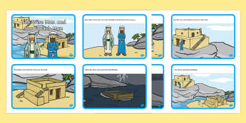 The Wise Man And The Foolish Man Story Sequencing (4 per A4) - the wise man, the foolish man, wise, foolish, sand, rock, sequencing, story sequencing, story resources, A4, cards, 4 per A4, rain, houses, building, house, bible story, bible