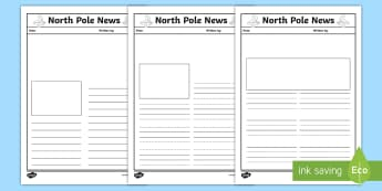 North Pole News Writing Template - KS1, EYFS, Letters, Newspaper, Literacy, English, Report, Christmas, Winter, Santa, Elves, Editable