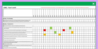 2014 National Curriculum UKS2 Years English Reading Assessment Spreadsheet