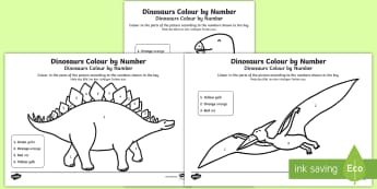 Dinosaurs Colour by Number English/German - EAL, German, dinosaurs, colour, number, activity, fine motor skills