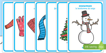 Winter Topic Display Posters English/French - Arctic, winter, xmas, display poster, A4, display, skis, ice skates, polar bear, whale, penguin, hus