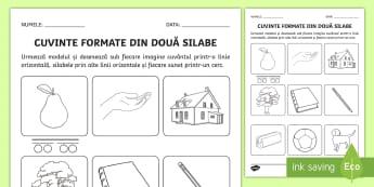 Cuvinte formate din două silabe Fișă de lucru - cuvinte, două silabe, silabe reprezentarea grafică, cuvinte, clasa pregătitoare, Romanian
