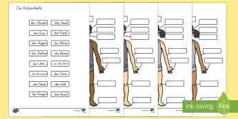 Die Körperteile Labelling Activity German - german, body parts, labelling, activity, body, parts