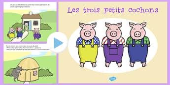 Les trois petits cochons histoire Powerpoint Français - français, trois petits cochons, histoire, powerpoint