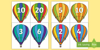 Counting in 2s, 3s, 5s and 10s Air Balloon Cut-Outs - twos, threes, fives, tens, counting from 0, place value display, multiple, counting in multiples