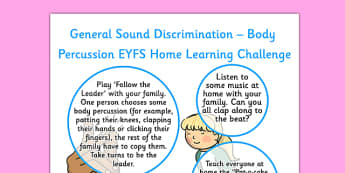 General Sound Discrimination Body Percussion EYFS Home Learning Reception FS2 - general, sound, discrimination