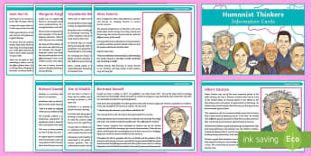 Humanist Thinkers Information Cards - Humanism, Worldview, religious, non-religious, influential, thinkers, humanist, atheist, rationality