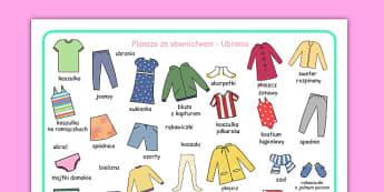 Plansza ze słownictwem Ubrania po polsku - przedszkole, odzież