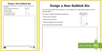 3-6 Design a New Bin Activity Sheet - Sustainability, Recycle, Reduce, Reuse, Refuse, Environment, rubbish, bin,Australia, worksheet