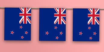 New Zealand Flag Display Bunting - nz, new zealand, countries, geography, display