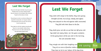 Lest We Forget Poem Display Poster - Key Stage One, Remembrance Day, Eleventh, November, Two Minute Silence, 2 Minute Silence, Army, Sold