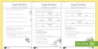 Irregular Plural Nouns Activity Sheets  - plurals, irregular plurals, nouns, grammar, English