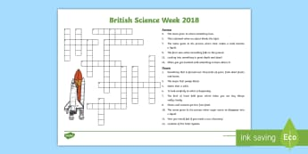 KS2 British Science Week 2018 Crossword - exploration, discovery, investigations, prediction and conclusions,vocabulary, processes