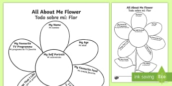 All About Me Flower Activity Sheet English/Spanish - Ourselves, All about me, family, Ks1, Y1, Year 1, EYFS, Reception, Growing, growth, flower, plant, p