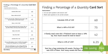 Finding a Percentage of a Quantity Sorting Cards - Decimal, Multiplier, Multiply, worded questions, basic practice
