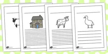 Farmer and Duck Writing Frames - farmer duck, writing frames, lined pages, frames for writing, themed writing frames, writing template, colour and write