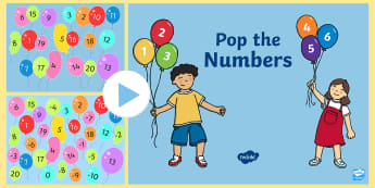 Numbers on Popping Balloons  PowerPoint -  - Numbers to 20 on Popping Balloons PowerPoint - one to twenty, numeral recognition, read and write nu