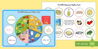 لعبة مطابقة مجموعات الأطعمة - طعام، غذاء، مجموعات، غذائية، فهم، مطابقة، لعبة، ,Arabic