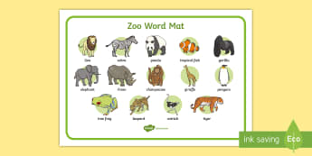 Zoo Word Mat - word mat, writing aid, zoo, at the zoo, zoo resources, zoo animals, animals, zoo ticket, the zoo, living things,