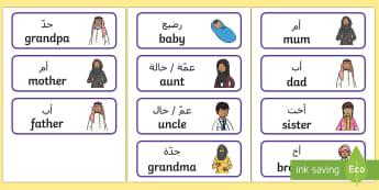 My Family Word Cards Arabic/English - emirati family, uAE all about me, arab family, arabian gulf people, uAE family EAL Arabic,Arabic-tra
