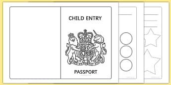 EYFS Child Entry Passport - early years, passport, transport
