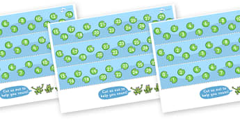 0-30 Number Line (Frogs and Lily Pads) - Counting, Numberline, Number line, Counting on, Counting back, frog, lily pad, frogs, jumping on, jumping back
