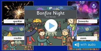 Bonfire Night Audio Flashcards - bonfire night, audio, flashcards, flash cards