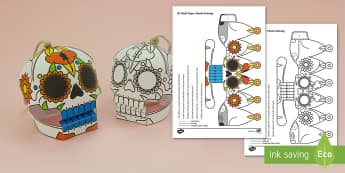 Simple 3D Day of The Dead Sugar Skull Activity Paper Craft