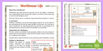 KS2 Workhouse Life Differentiated Fact File -  KS2 Workhouses, workhouse life, paupers, poor people, Victorian times, era, age, 1800s, life in Bri
