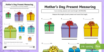Mother's Day Present Measuring Activity Sheet - Mother's Day Maths, maths, mother, mother's day, mum, ACMMG084, measuring, length, measure length,