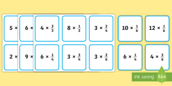 Multiplying Fractions Matching Game - multiples, multiplication, fractions, whole numbers, mixed numbers, improper fractions, fourth grade