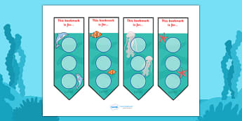 Under The Sea Sticker Reward Bookmarks (30mm) -  Under the sea, sea, seaside, water, tide, fish, sea creatures, shark, whale, marine, dolphin, starfish, waves, sand