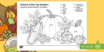 Autumn Themed Colour by Addition to 10 English/Polish - seasons, add, adding, autmn, autunm, atumn, aurum, aurumn, +, adition, seaons, autmn, additon,Polish