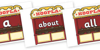 100 High Frequency Words on Hoopla Stands - High frequency words, hfw, DfES Letters and Sounds, Letters and Sounds, display words